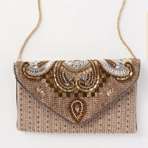 Lulus Constantinople Gold Beaded Clutch